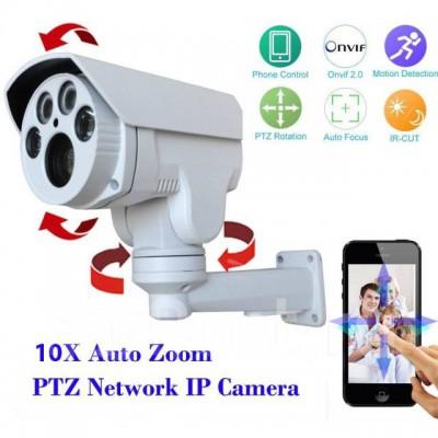 Уличная высокоскоростная управляемая PTZ IP камера, 10X Моторизованный Авто Зум, автофокус, 1080P, 5-50mm вариофокальный объктив